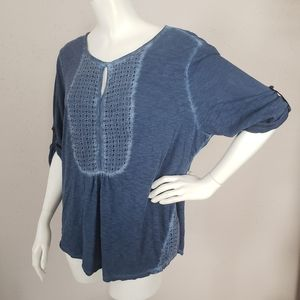 Style Co Blue Blouse Women Soze XL  3/4 Sleeves